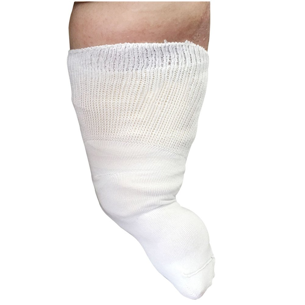 """Beyond Extra Wide Bariatric Sock for Extreme Lymphedema. Calf stretches up to 30"""". Widest Bariatric Sock on the market. One Size Unisex Antimicrobial Made in USA!!! (White)"""
