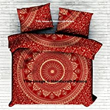 Indian Ombre Mandala Gold Duvet Cover, Queen size Blanket, Quilt Cover, Indian Bedspread, Bohemian Bedding, Double Bedspread Comforter Cotton Duvet Cover Sold By Handicraftspalace