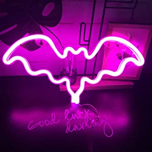 Bat Neon Light Led Sign Wall Decor for Christmas Birthday Wedding Party Kids Living Room Pink
