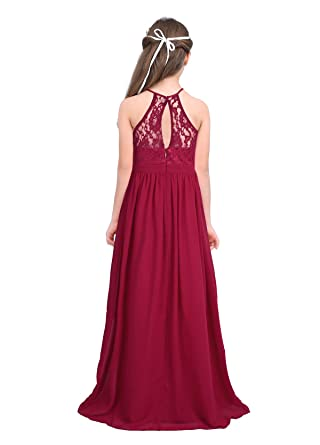 CHICTRY Kids Girls Halter Neck Chiffon Lace Long Party Junior Wedding Evening Dance Prom Maxi Gown Dress: Amazon.co.uk: Clothing