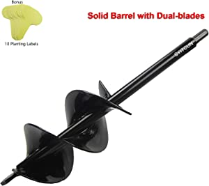 """Auger Drill Bit 3x12inch Garden Solid Barrel Dual-Blades Plant Flower Bulb Auger Spiral Hole Drill Rapid Planter Earth Post Umbrella Hole Digger for 3/8"""" Hex Drive Drill Works for Any Kinds Soils"""