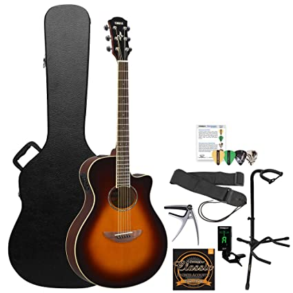 Amazon.com: Yamaha 6 String Acoustic-Electric Guitar Old Violin Sunburst APX600OVS-KIT-2: Musical Instruments