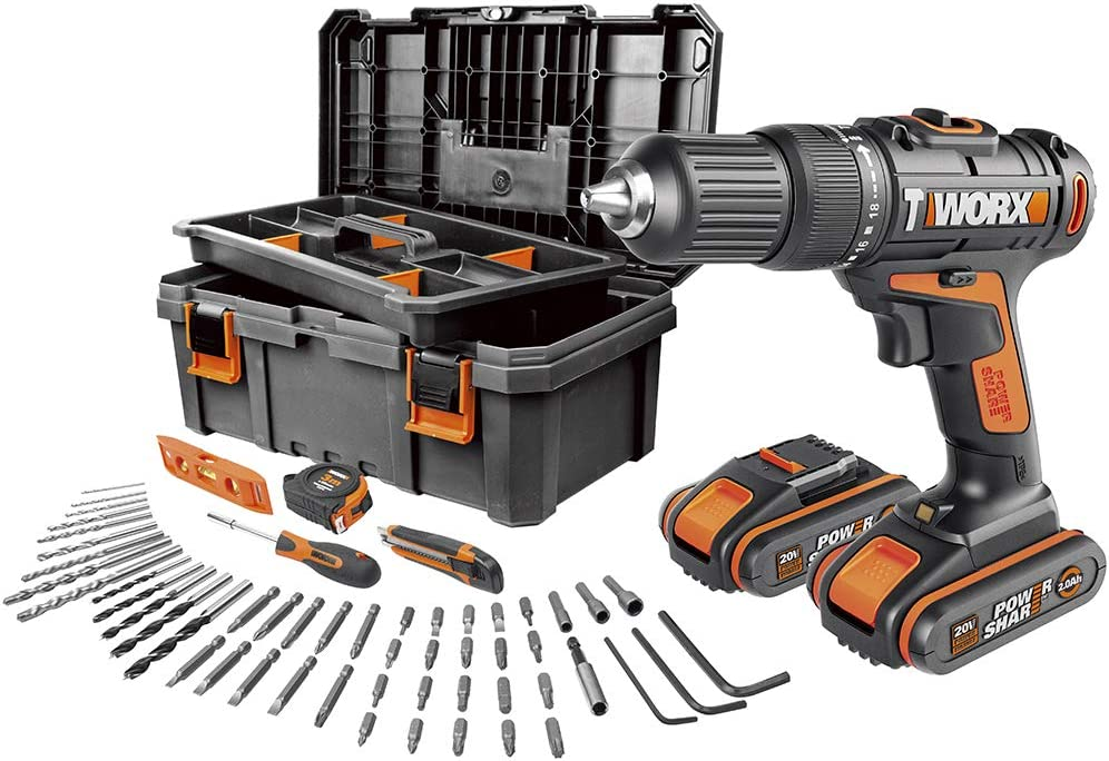 Worx WX371.5 - Taladro Percutor 20V (2 baterías de 2Ah + caja con 55 Herramientas)