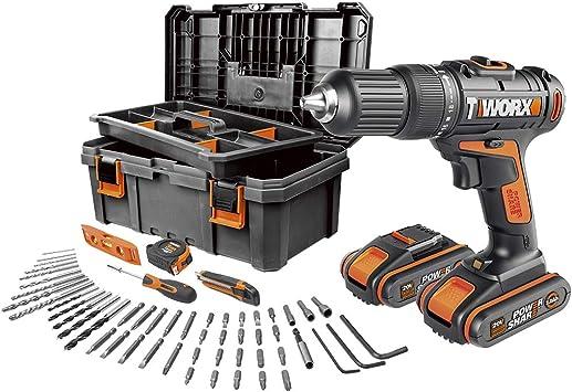 Worx WX371.5 - Taladro Percutor 20V (2 baterías de 2Ah + caja con 55 Herramientas): Amazon.es: Bricolaje y herramientas