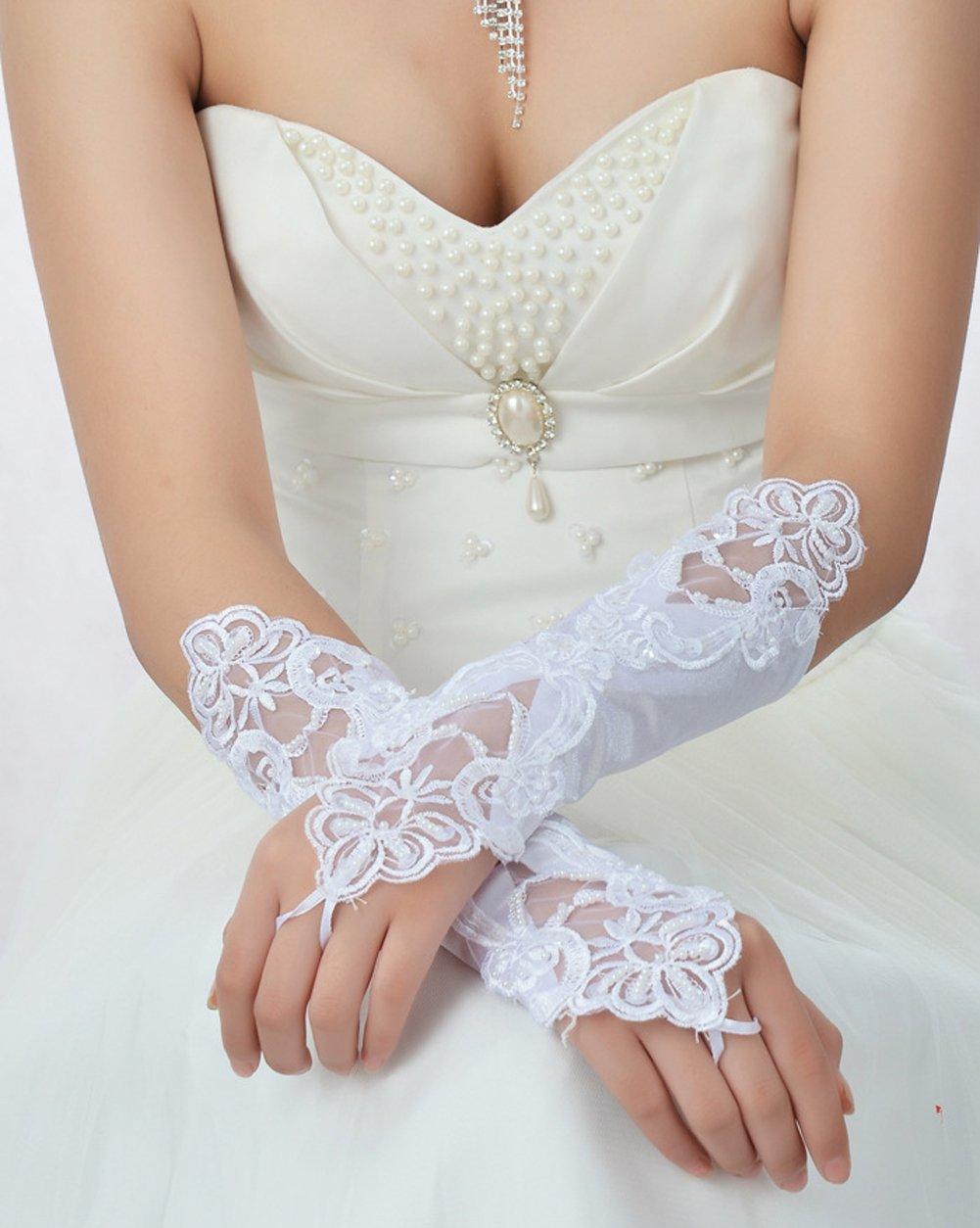 Hosaire Coppia di Gothic donna guanti pizzo matrimonio sposa Tarde Guanti Bianco Satin El/égant Mascarada Maschera per Venezia tuta Fiesta bianco Guantes bianco