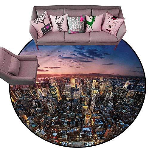(Outdoor Kitchen Room Floor Mat NYC,Metropolitan Downtown Roofs Diameter 66