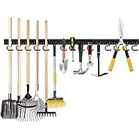 TZUTOGETHER Verstelbare Garage Tool Hanger, Mop Bezem Houders, Verwijderbare S Type Haken, Gereedschaprek Planken…