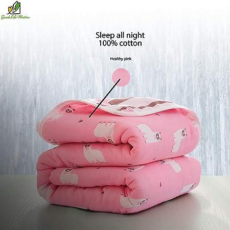 Manta para bebé de 6 Capas, algodón orgánico, Mantas de Cama, Ligera, súper Suave y cálida, Manta para bebé para Todas Las Estaciones, 47 x 47 Pulgadas, Color Rosa: Amazon.es: Hogar