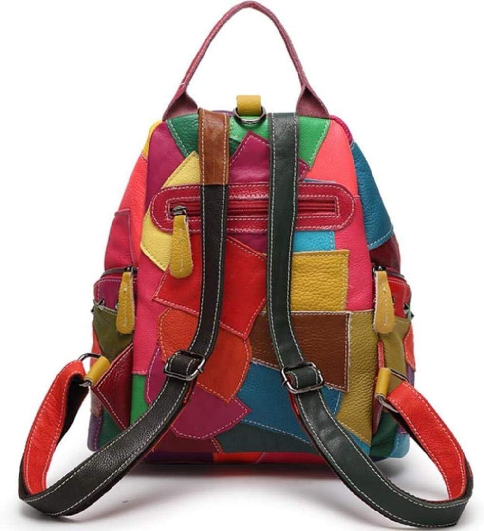 PJA - Zaino da donna in vera pelle, borsa da viaggio, alla moda, colore: Multicolore Multicolore 2 Multicolore 2