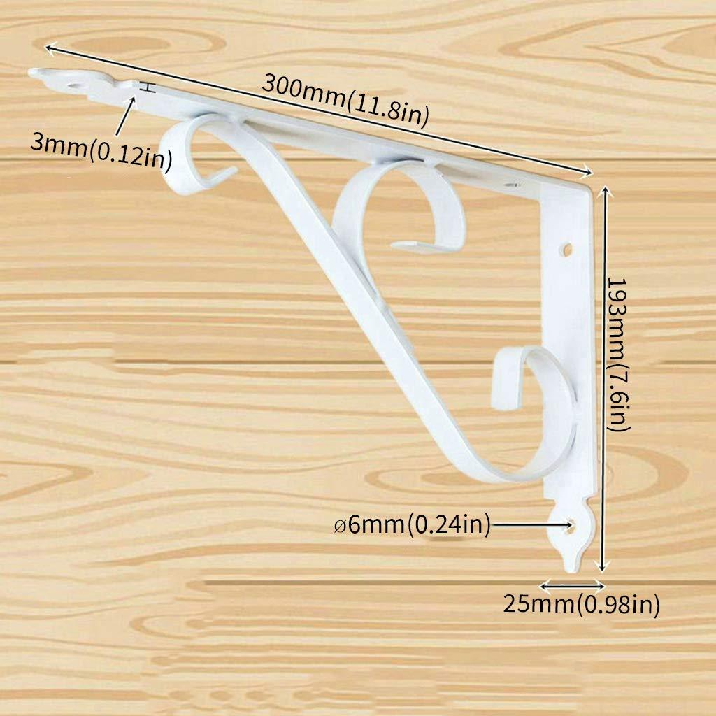 2 Piezas Espesar Soporte de Estante Curva r/ústica Soporte de tri/ángulo Negro//Blanco Soporte de Esquina Decorativo Soporte de Pared Metal Flotante Estante de /ángulo Recto Soporte con Accesorios de