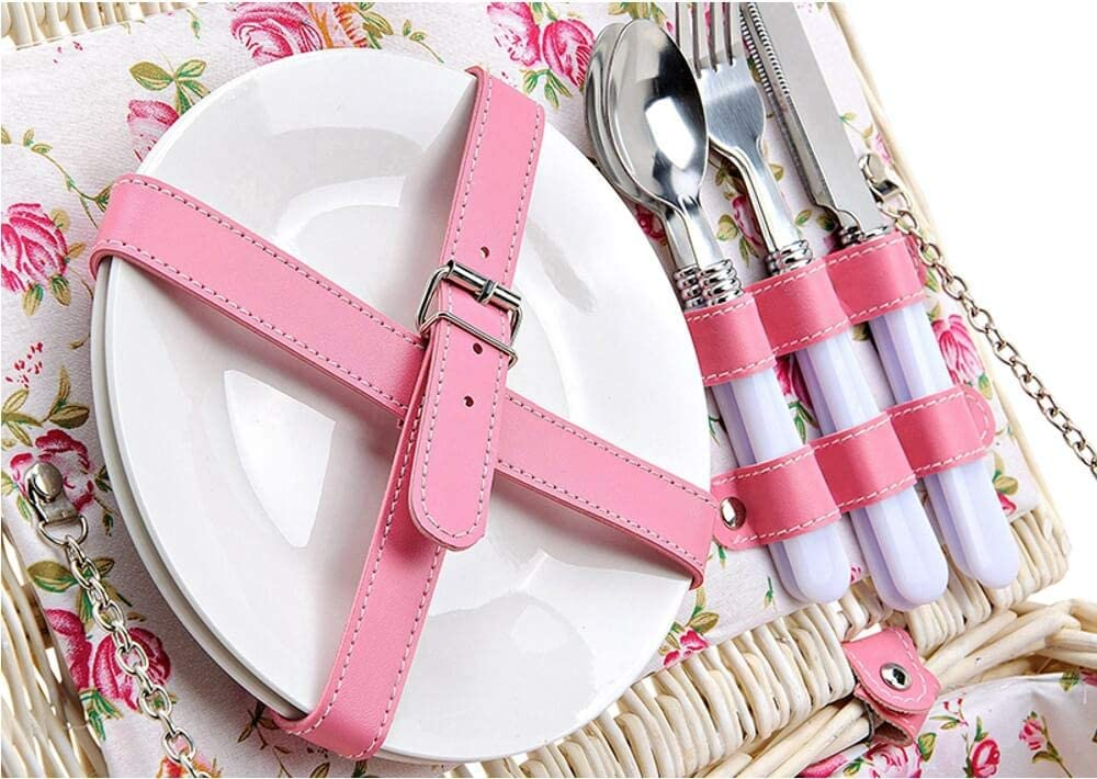 Picknickkorb 2 Personen Weidenkorb weiß rosa 11-tlg inkl Mehrweg Geschirr