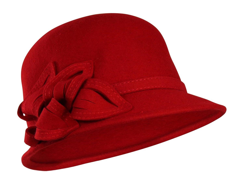 Folie Co. 100% Wool Vintage Winter Cloche Hat w/Adjustable Inner Drawstring - One Size