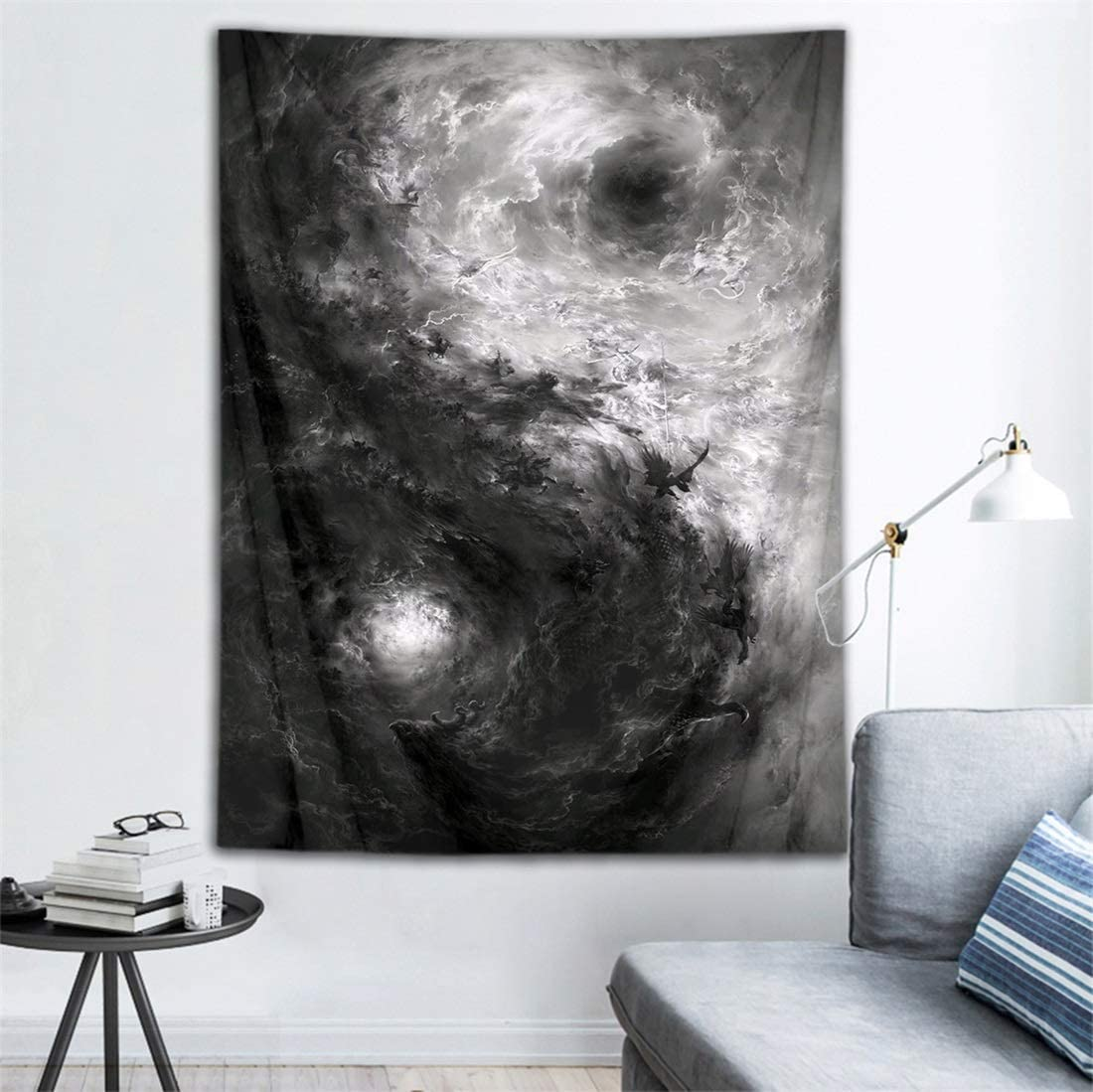 HVEST Black and White Tarot Tapestry Bohemian Psychedelic Tapestry Chinese Tai Chi Dragon Pattern Tapestries for Living Room Bedroom Dorm Teen Indie Room Decor Blanket ,40X60 Inches