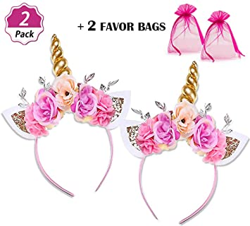 DaisyFormals Unicorn Headbands Gold Unicorn Horn Flowers Headband for Girls  Adults Birthday Outfit 0ab84a2ddce