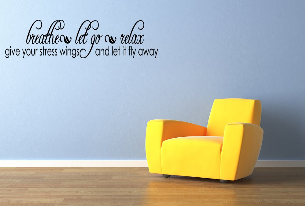 Amazon.com: Breathe Let Go Relax Lettering Vinyl Wall Decal Quotes ...