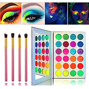 Glow in the dark paint, Kalolary Neon Eyeshadow Glow Palette UV Glow Blacklight Matte and Glitter, 24 Colors Highly Pigmented Makeup Kit with 4 Brushes
