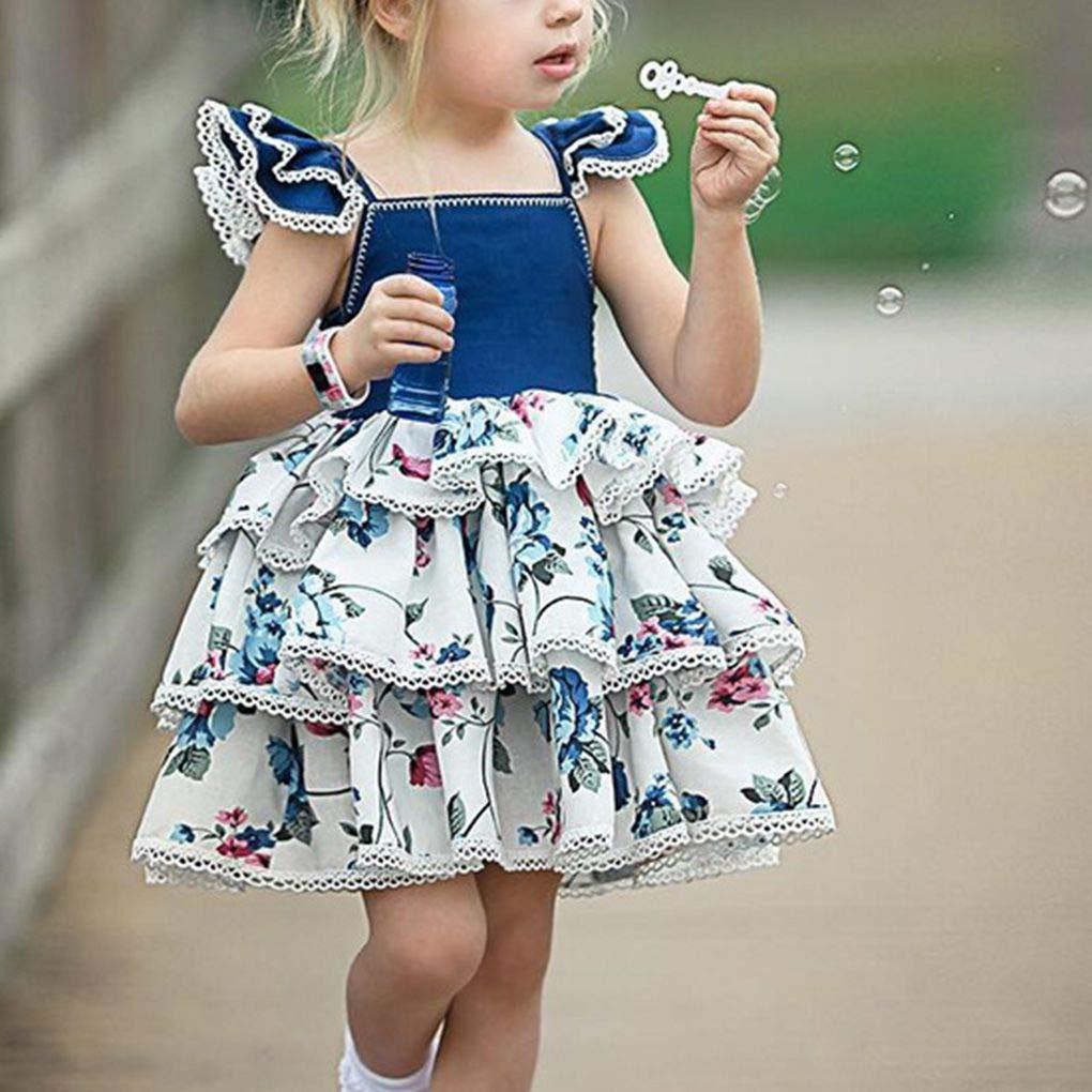 Sunlera Dress Neonata Sveglia Stampa Floreale dei Bambini Senza Maniche Vestitino Bambini Che volano Maniche di Pizzo Bicchierino della Spiaggia