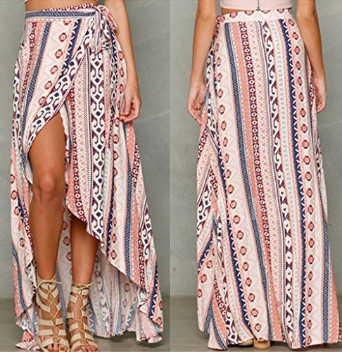 966ab3799e HOTAPEI Womens Ethnic Print Maxi Skirt Wrapped Beach Cover up Dress