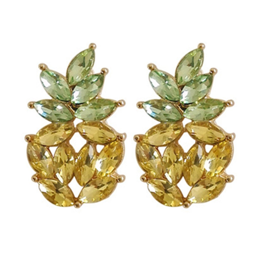 18K Gold Plated Lovely Cubic Zirconia Green And Yellow Crystal Pineapple Charm Stud Earrings