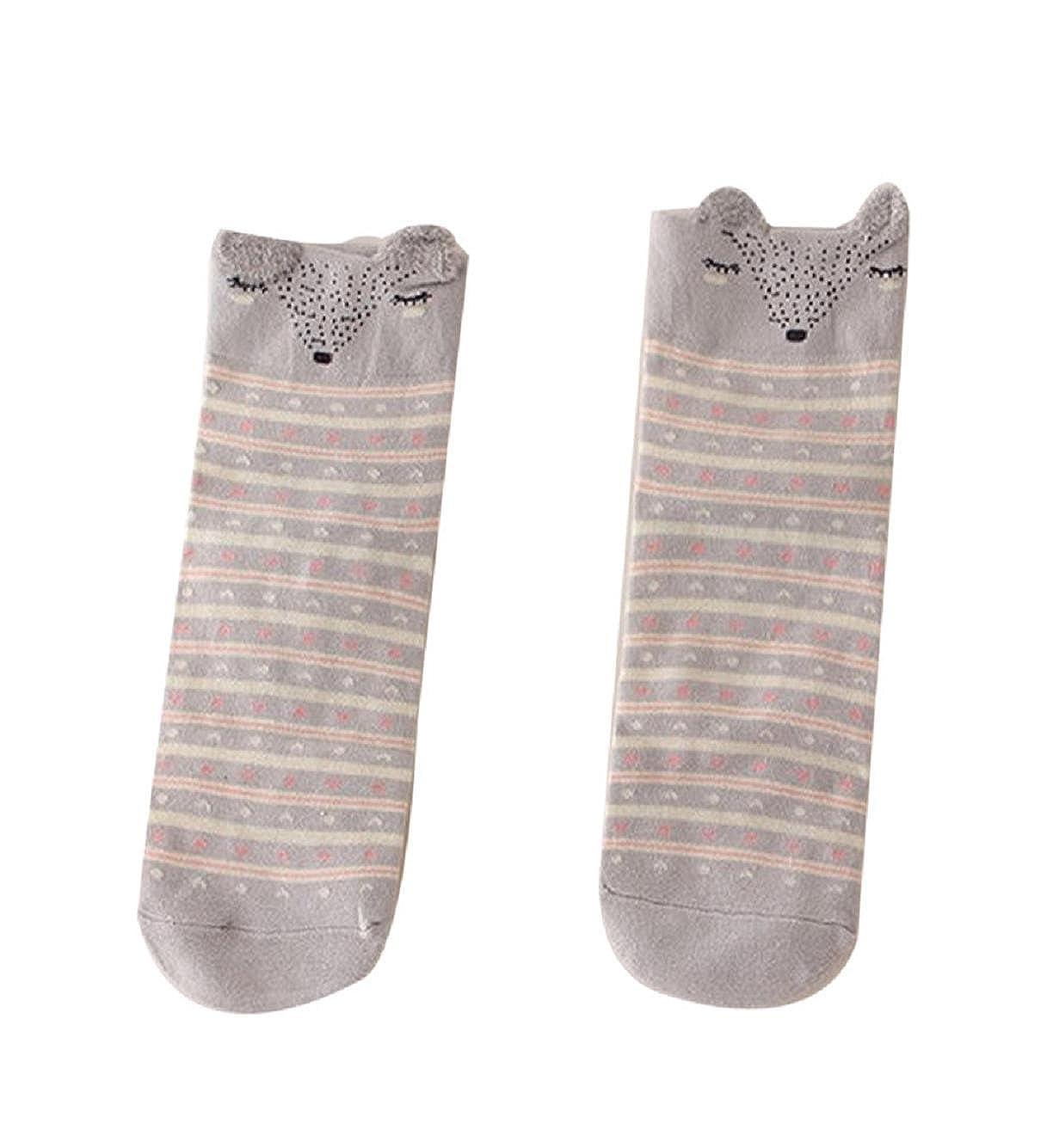 Rosennie Damen Mädchen Herbst Niedlich Schön Karikatur Tier Socken Baumwolle warm Weiche Socken Beige) 7196