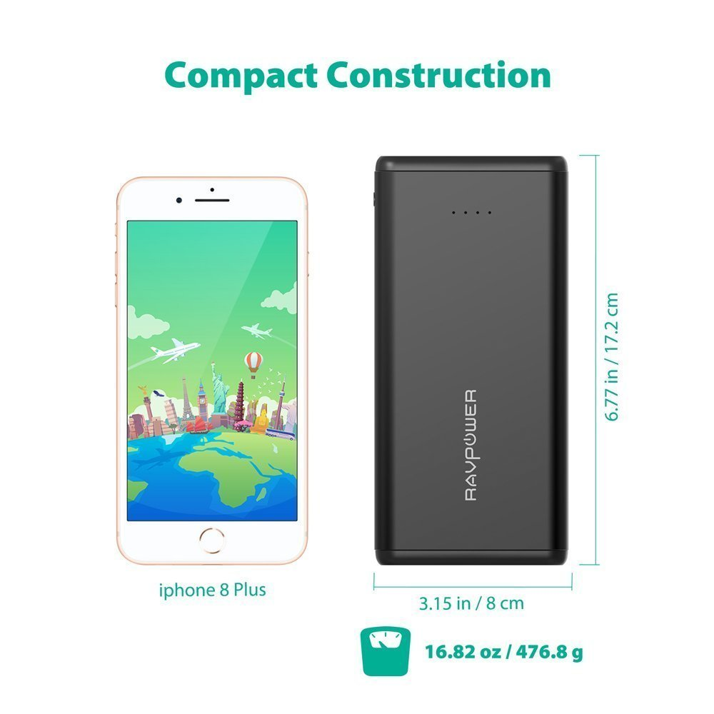 Portable Chargers RAVPower 20000mAh USB Battery Pack with Dual iSmart 2.0 USB Ports, 3.4A Max Output, 2.4A Input Power Bank for iPhone, iPad, Galaxy, and Android Devices by RAVPower (Image #6)