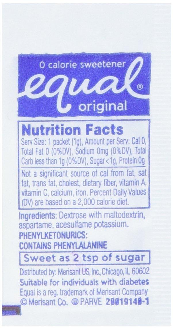 Equal Original Sweetener -back of packet