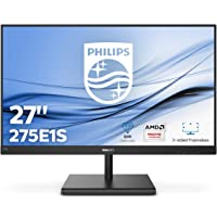 "Philips Monitor Gaming 275E1S Monitor, 27"" IPS, AMD Freesync, Quad HD 2560 x 1440, 75 Hz, 4 ms, HDMI, Dispaly Port, VGA, Flicker Free, Low Blue Light, VESA, Nero"