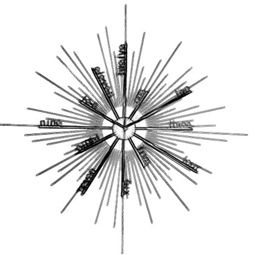 ウォールクロック ファッションパーソナリティモダニズムクリエイティブウォールクロックリビングルームホームアートデコレーションアイロン大気時計クリエイティブクロック (色 : A) B07D7SDYLNA