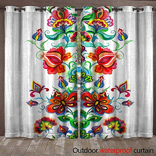 BlountDecor Home Patio Outdoor Curtain Whimsical Folk Art Ornament - Seamless Floral Border with Fairy Flowers Watercolor line Waterproof CurtainW108 x L96