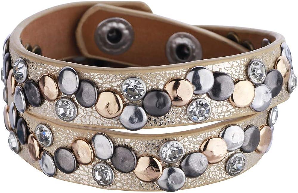 Sincera - Pulsera enroscable con diamantes de imitación con remaches diferentes para mujer