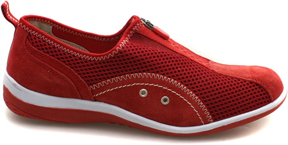 Womens Comfortable Zip Leather and Mesh