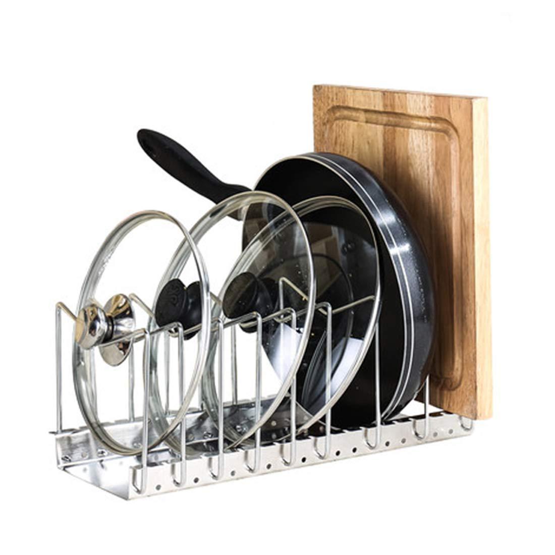 SHOW-WF Height Adjustable Pot Pan Lid Holder Storage Standing Storage Cookware Holders Kitchen Organiser Rack,C 40X18cm