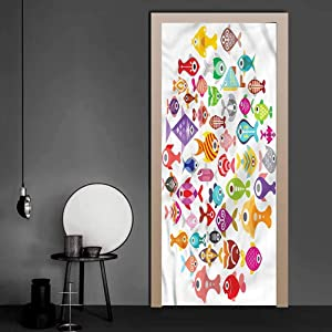 Stickers Fish, Colorful Aquarium Fishes Full Door Cover Refrigerator Stickers Makes Your Space Look Larger 35.4 x 78.7 Inch