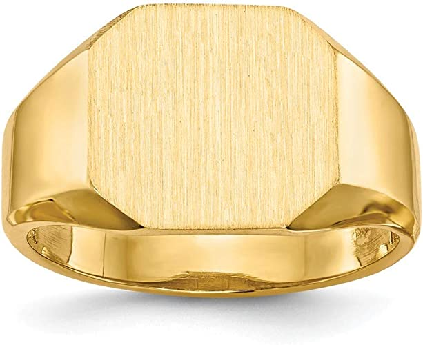 Roy Rose Jewelry 14K Yellow Gold Mens Signet Ring Custom Personailzed with Free Engraving Available Initial or Monogram