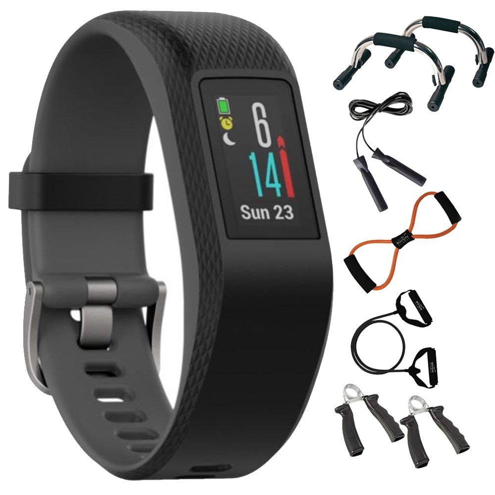 Garmin Vivosport Smart Activity Tracker + Built-In GPS (Slate, S/M) 010-01789-10 + 7-in-1 Total Resistance Fitness Kit
