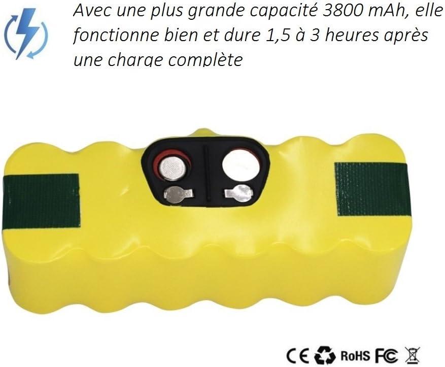color amarillo Bater/ía de repuesto para aspirador iRobot Roomba Revopow Ni-MH, 3800 mAh, 14,4 V, sustituye a las series 500, 600, 700, 800, 900, R3, 80501 4419696, Scooba 450 etc.