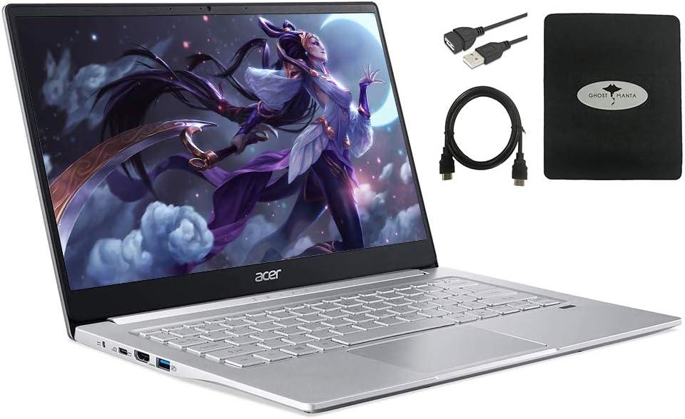 "2021 Newest Acer Swift 3 14"" FHD Thin & Light Laptop, AMD Ryzen 5 4500U(up to 4.0GHz), 8GB RAM, 512GB PCIe SSD, Backlit KB, Fingerprint Reader w/Ghost Manta Accessories"