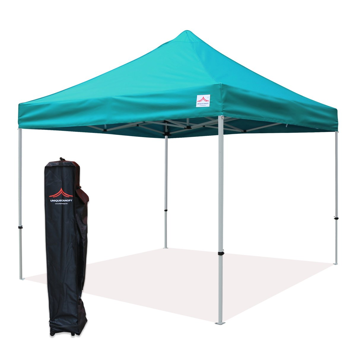 UNIQUECANOPY 10x10 Ez Pop up Canopy Tents for Parties Outdoor Portable Instant Folded Commercial Popup Shelter, with Wheeled Carrying Bag Lake Blue