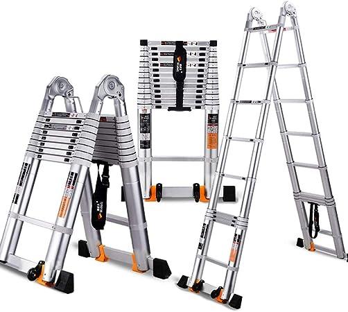 ZR- Aluminio Escalera Telescópica Una Escalera De Marco De Múltiples Fines Escalera Extensible Plegable Capacidad De Carga 330lbs Certificado EN 131 -Fácil de almacenar y fácil de llevar: Amazon.es: Hogar