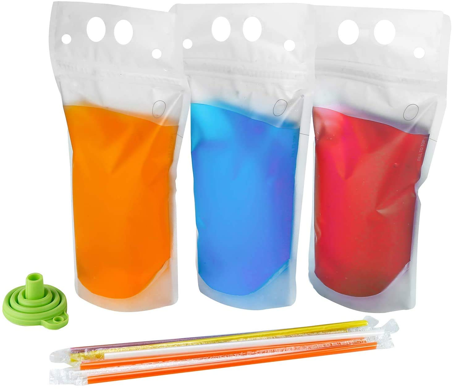 200PCS Drink Pouches with Straw Smoothie Bags Juice Pouches with 200 Drink Straws, Heavy Duty Hand-Held Translucent Reclosable Ice Drink Pouches Bag by C CRYSTAL LEMON