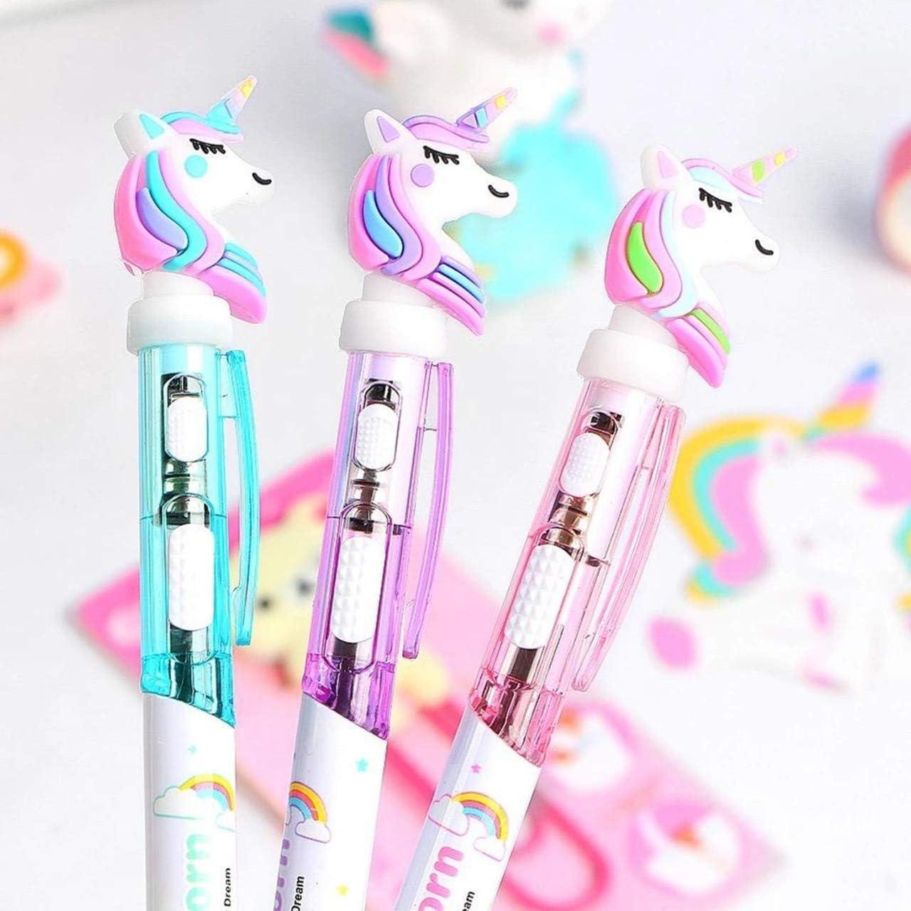 Pack de 3 bolígrafos de unicornio con luz de 16 cm, 1 rosa, 1 azul, 1 lila.
