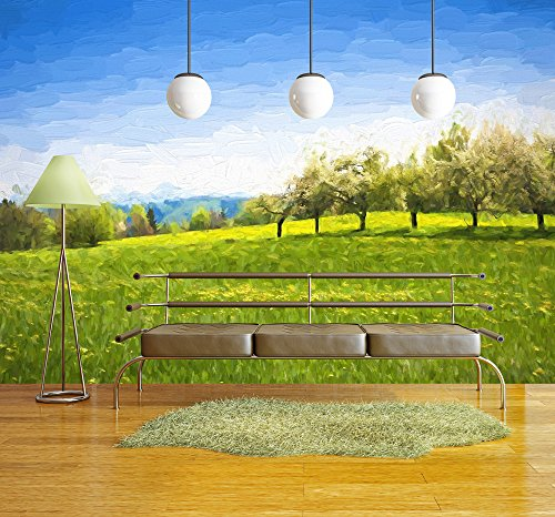 Oil Painting Spring Landscape Green Meadow and Fruit Trees Original Oil Painting