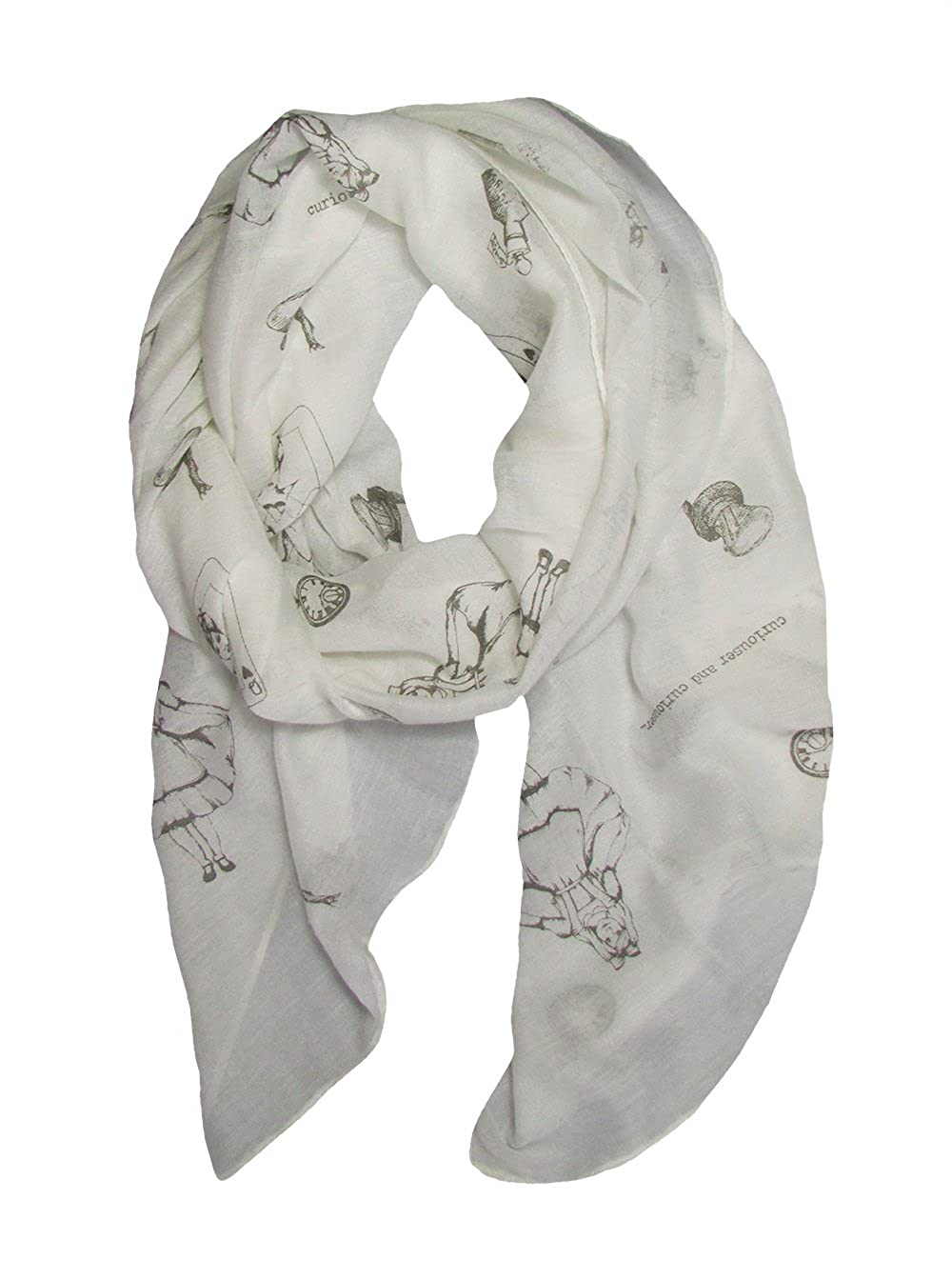 Alice in Wonderland - Lewis Carroll Theme Print Off White Lightweight Scarf Molly Louise