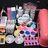 25 in 1 Combo Set Professional 9W Lamp Dryer Color UV Builder Gel DIY Nail Art Decorations Kit Brush Buffer Cuticle Revitalizer Oil Pen Tools Natural White Nail Tips Rhinestones Pearls Cutter Sanding Files Forms Glue UV Gel Set #34