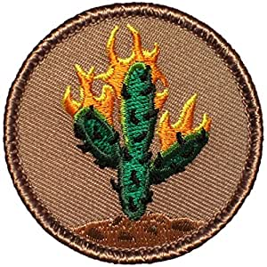 """Burning Cactus Patrol Patch - 2"""" Diameter Round Embroidered Patch (Hook Fastener)"""