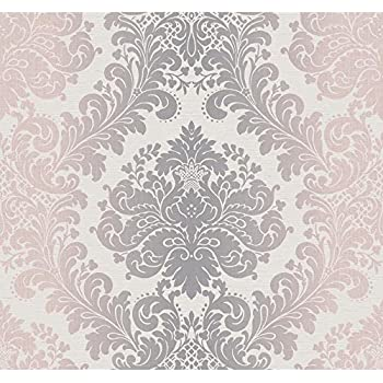 York Wallcoverings PH4604 Artisan Estate Ombre Damask Wallpaper Off White Silver Pale Pink