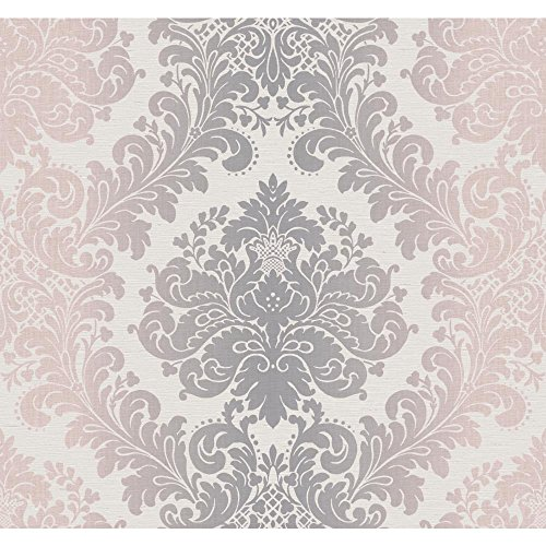 York Wallcoverings PH4604 Artisan Estate Ombre Damask Wallpaper, Off White, Silver, Pale Pink (Pink Damask Wallpaper)