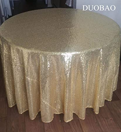 4ab6d20b58a98 Image Unavailable. Image not available for. Color  DUOBAO Sequin Tablecloth  Round 120   Light Gold ...