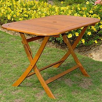Amazoncom Eucalyptus 43 Inch Round Folding Deck Table Patio