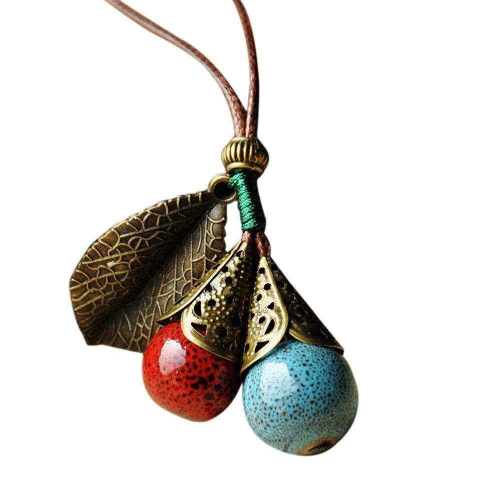 1cm Bleu Environ 3 Hoveey 1x Bijoux Femme Pendentif Perles Tiss/ées Style Ethnique C/éramique Style Vintage Pendentif Bijoux Accessoires C/éramique Rouge